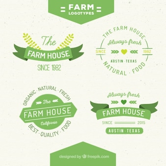 Collection of cute green farm logos in vintage style