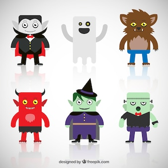 Collection of cute halloween characters