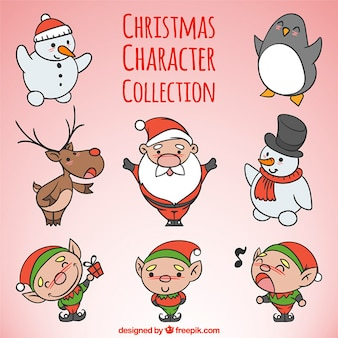 Collection of cute hand drawn christmas characters
