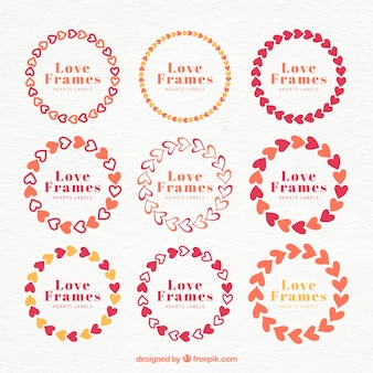 Collection of cute hearts frame
