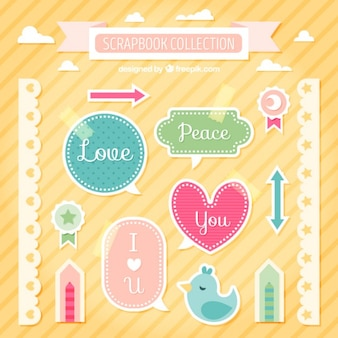 Collection of cute labels and borders for scrapbooking