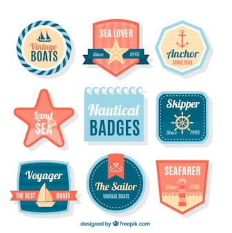 Collection of cute sailing badge