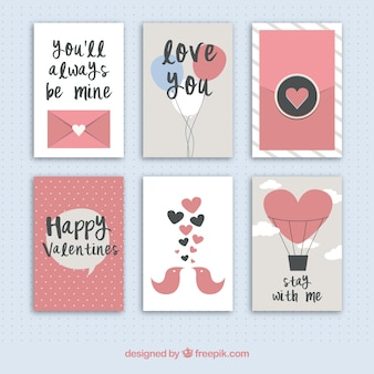 Collection of cute valentines day cards