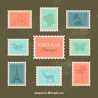 Collection of cute vintage stamp