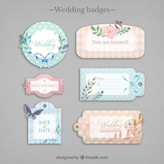 Collection of cute weeding labels