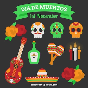 Collection of day of the dead items
