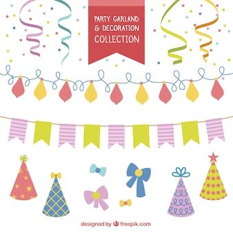 Collection of decoration and party garlands