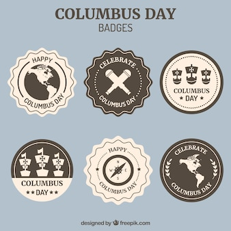 Collection of decorative badges for columbus day