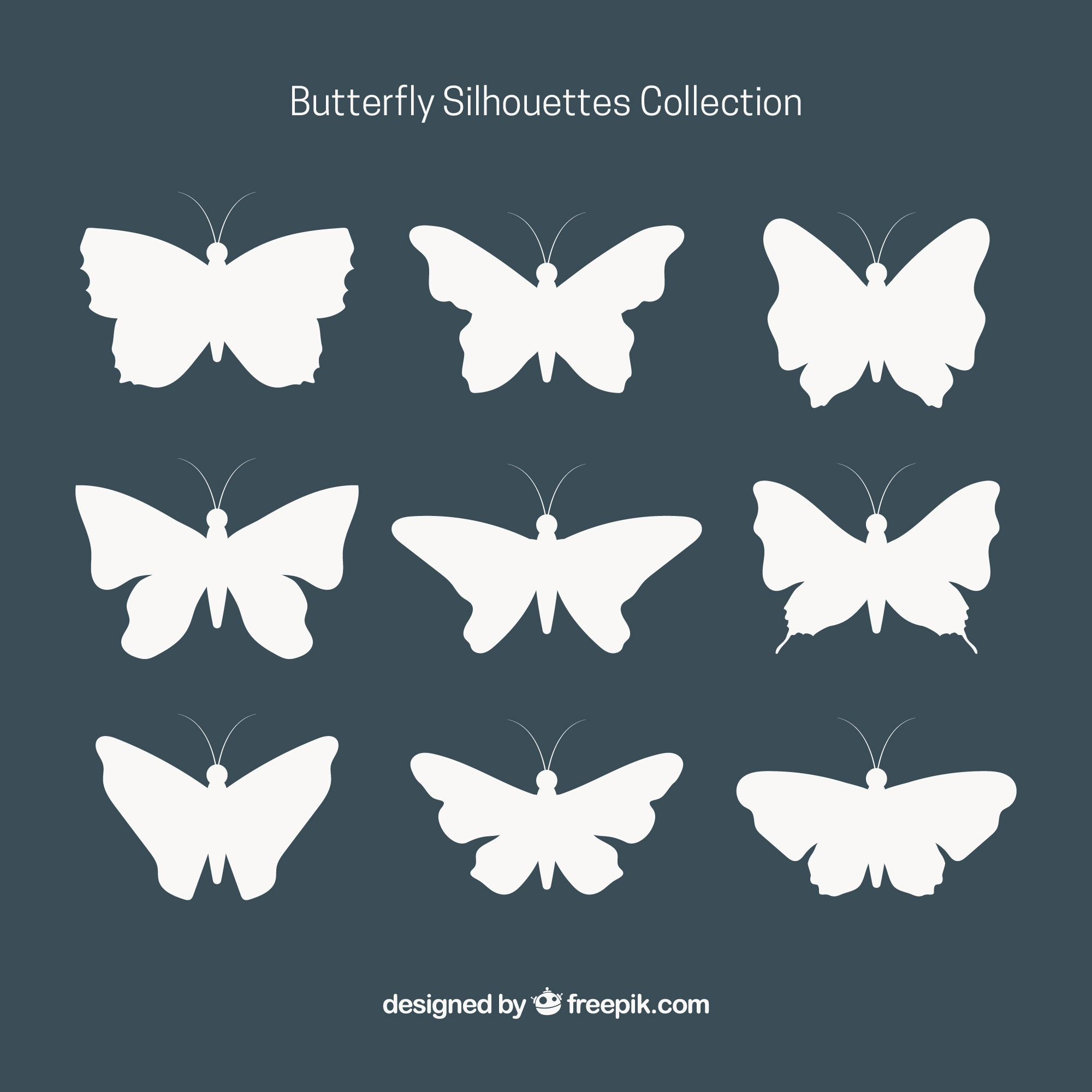 Collection of decorative butterfly silhouettes