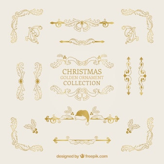 Collection of decorative golden christmas borders