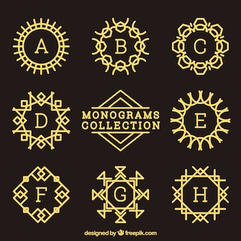 Collection of decorative golden monogram