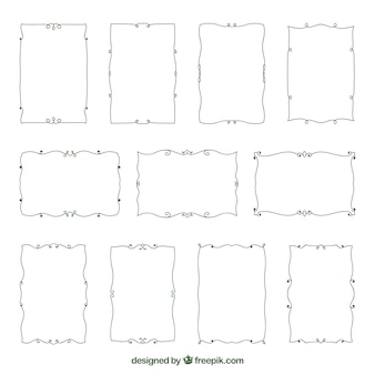 Collection of decorative hand drawn borders