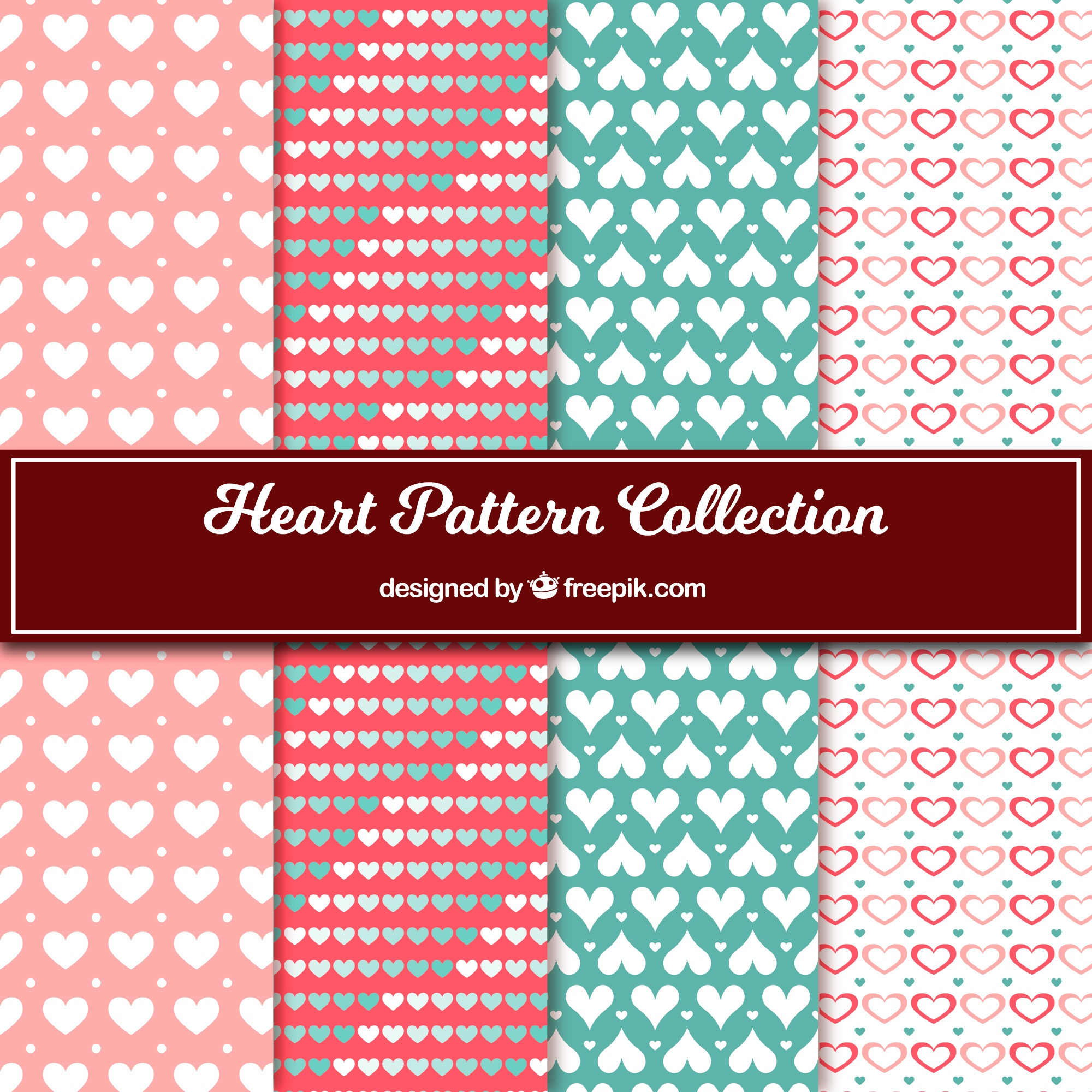 Collection of decorative hearts patterns