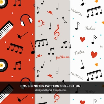 Collection of decorative patterns of musical notes