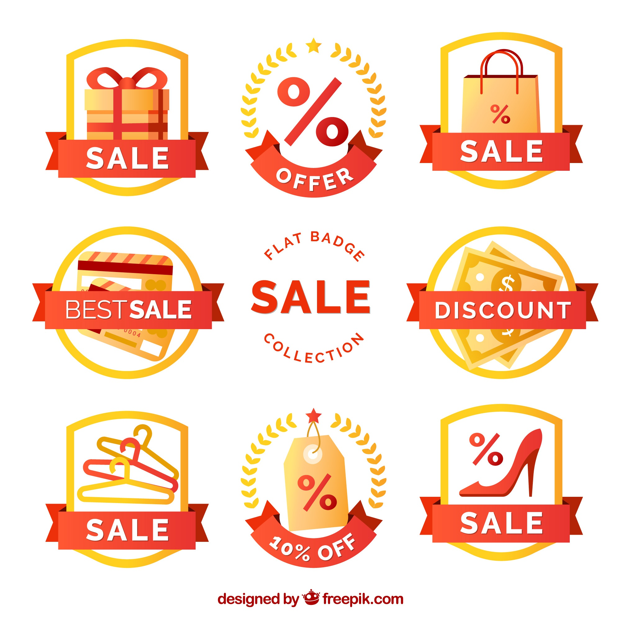 Collection of decorative sale badges in flat design