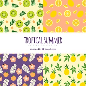 Collection of decorative summer patterns with fruits