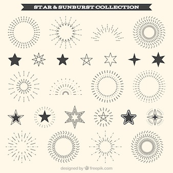 Collection of decorative sunburst and star ornament