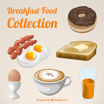 Collection of delicious breakfast with dessert