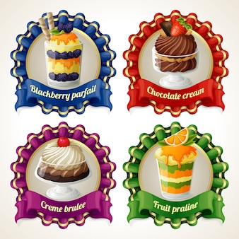 Collection of dessert badges