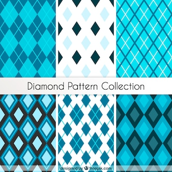 Collection of diamond patterns in blue tones