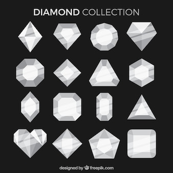 Collection of diamonds in flat design