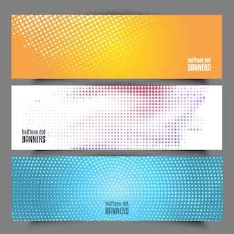Collection of different designs of halftone dots banners