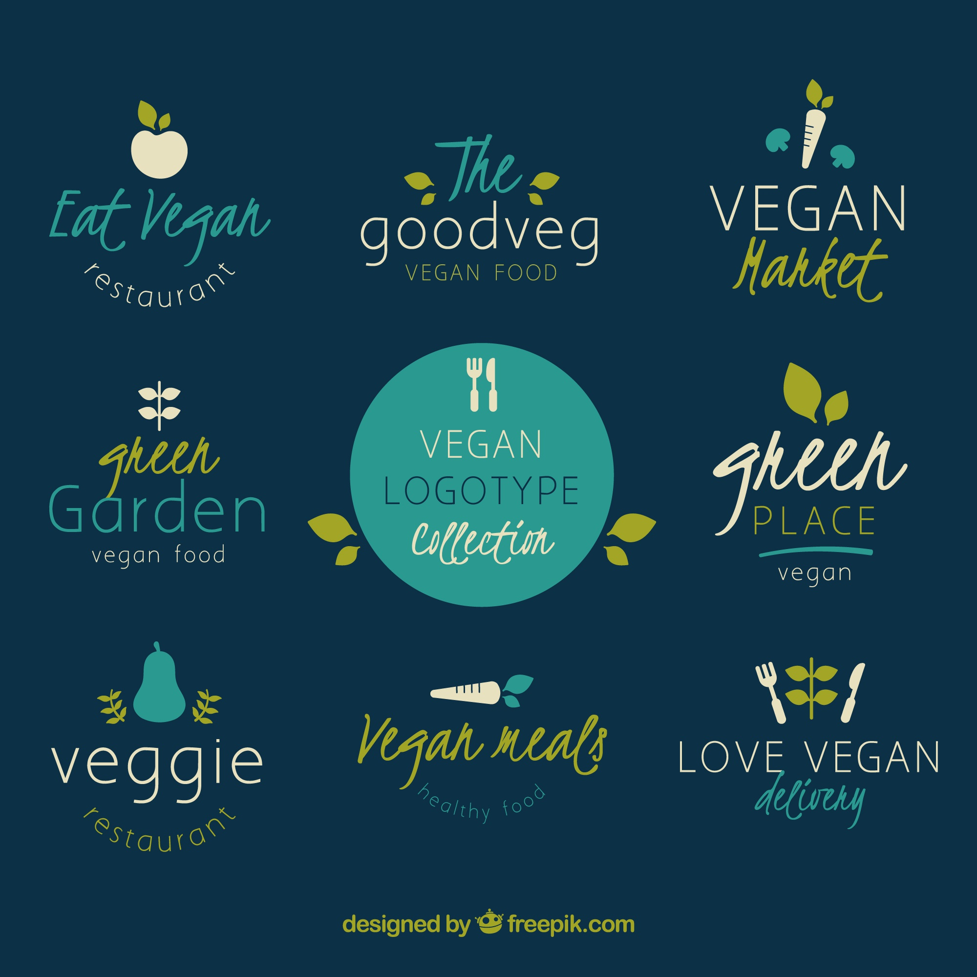 Collection of different logos for vegetarian food