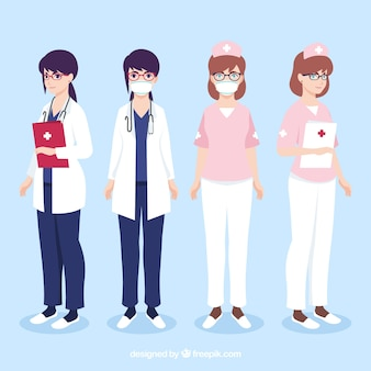 Collection of doctors with mask and clipboard