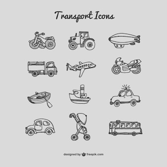 Collection of drawing transport icons