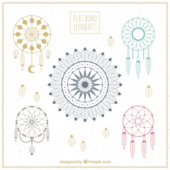 Collection of dreamcatchers with fantastic designs