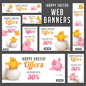 Collection of easter banners with cute chicks