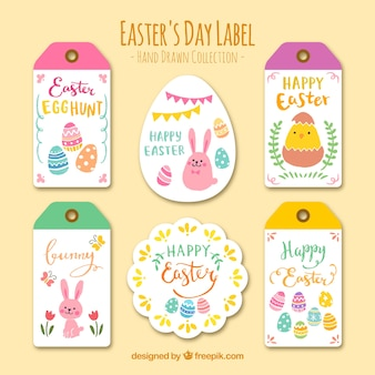 Collection of easter day stickers and labels