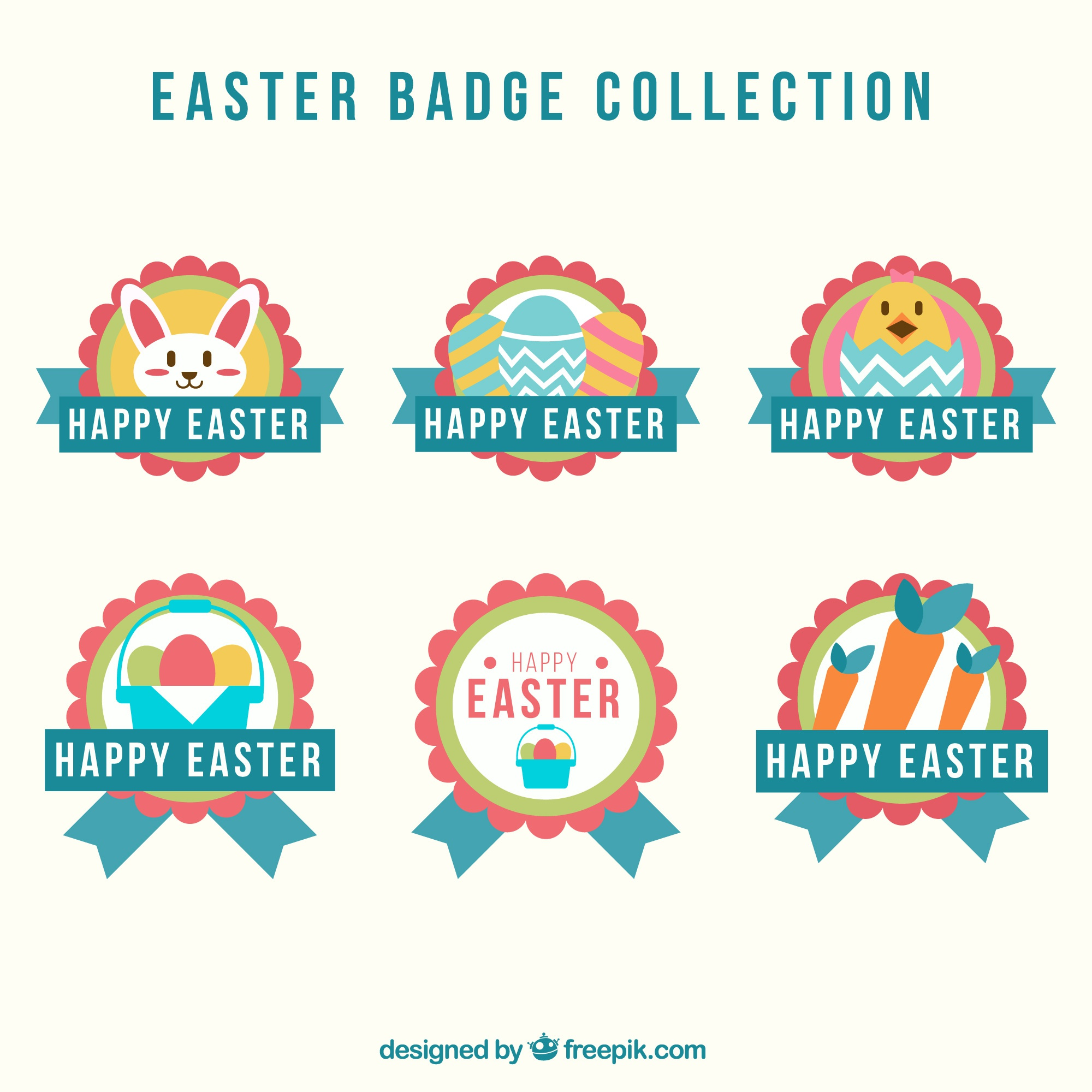 Collection of easter egg badges