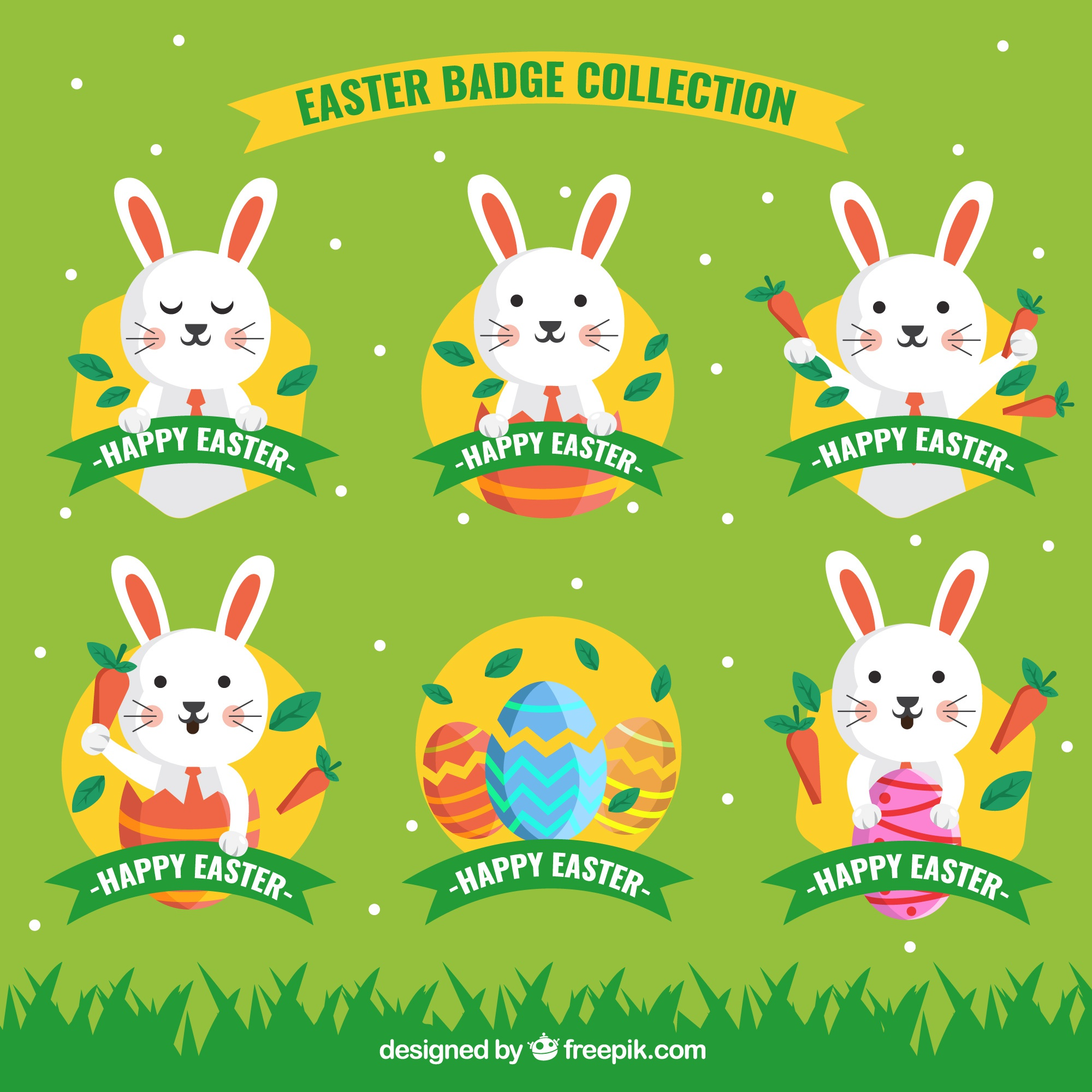 Collection of easter egg stickers with funny bunny