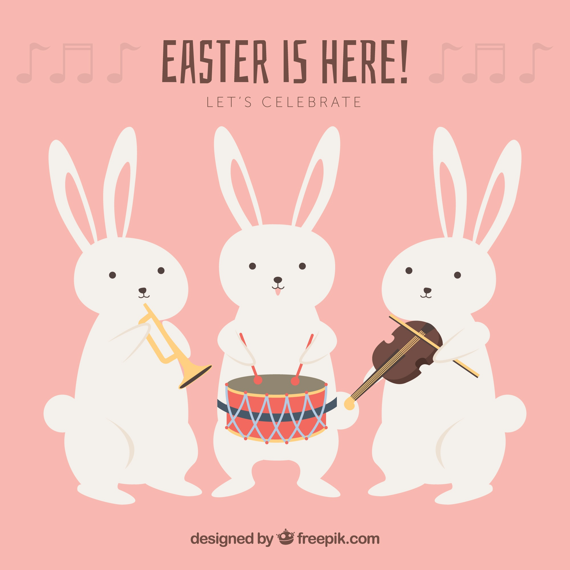 Collection of easter rabbits with musical instruments