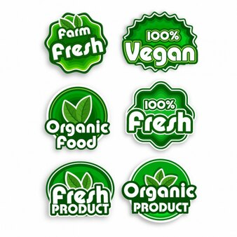 Collection of ecological labels in green tones