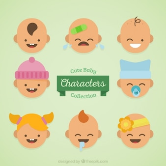 Collection of eight babies with different expressions