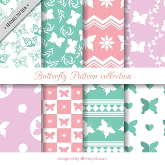 Collection of eight butterfly patterns in pastel colors