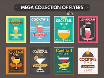 Collection of eight flyers, templates design for Summer Cocktail Party celebration