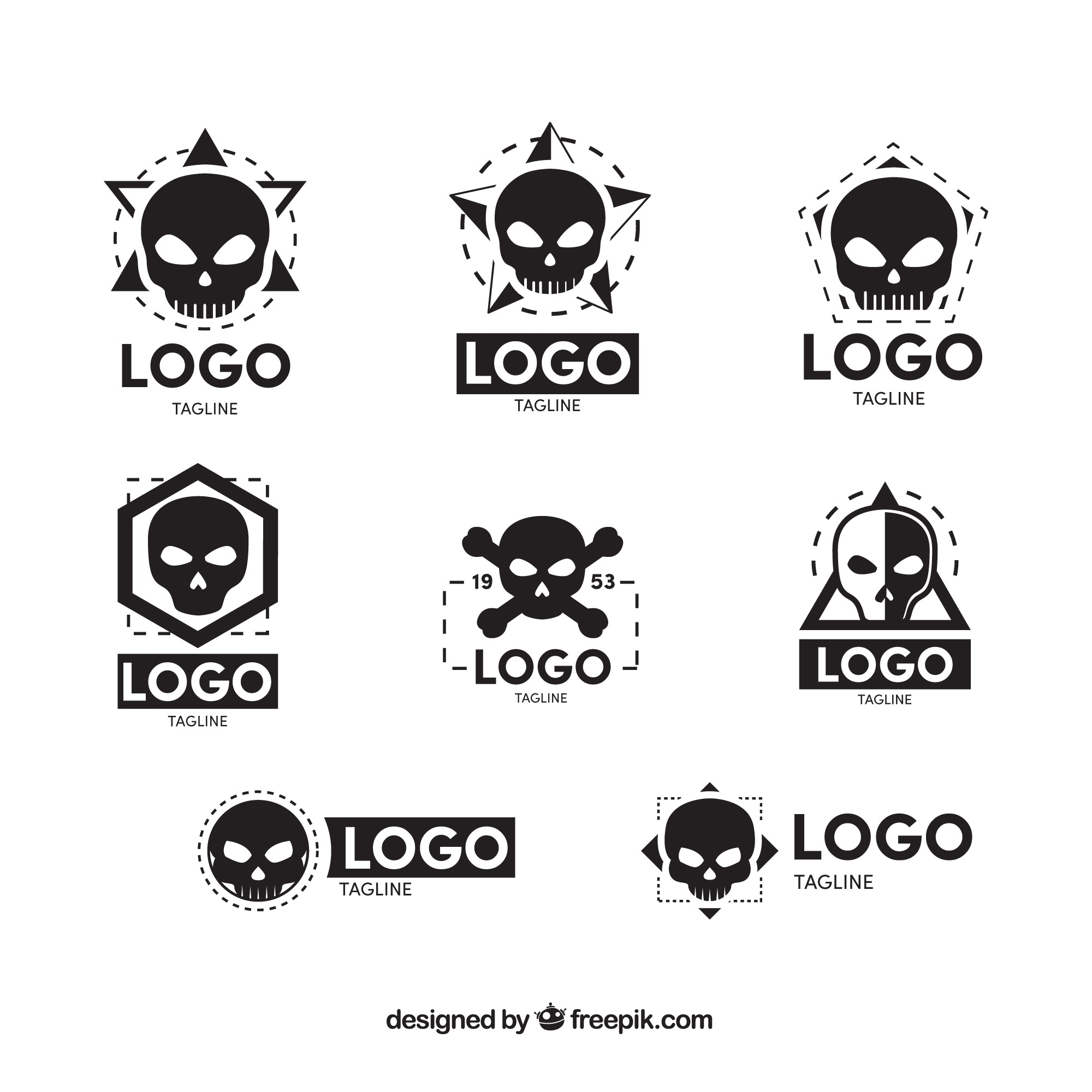 Collection of eight skull logos in flat design