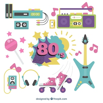 Collection of eighties objects in flat design