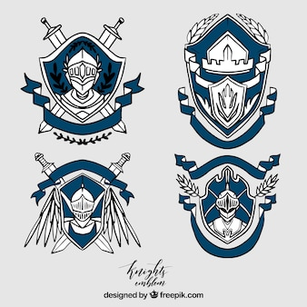 Collection of elegant blue knight emblems