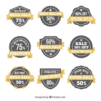 Collection of elegant discount stickers in retro style