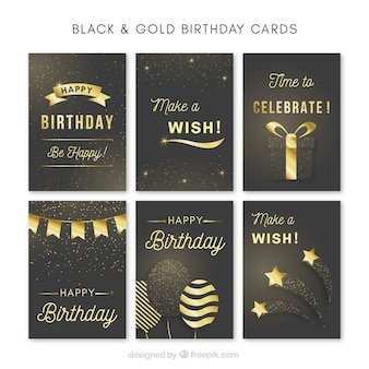 Collection of elegant golden birthday card