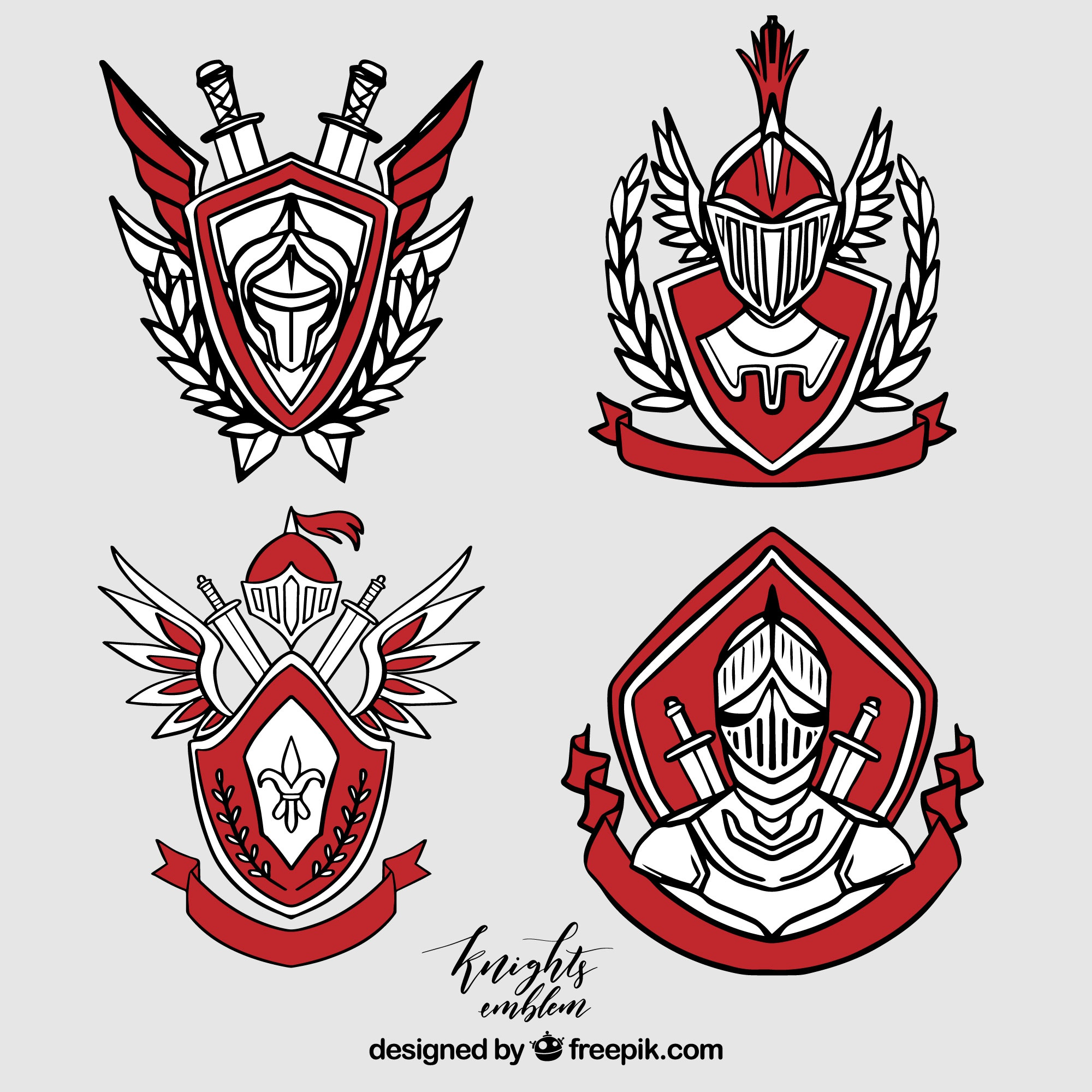 Collection of elegant red knight emblems