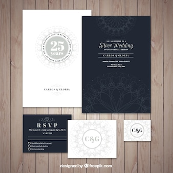 Collection of elegant silver wedding jubilee invitation
