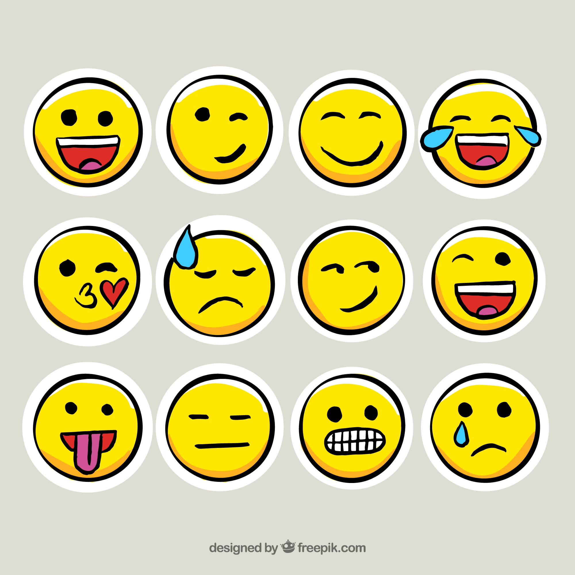 Collection of emoticon stickers in hand-drawn style