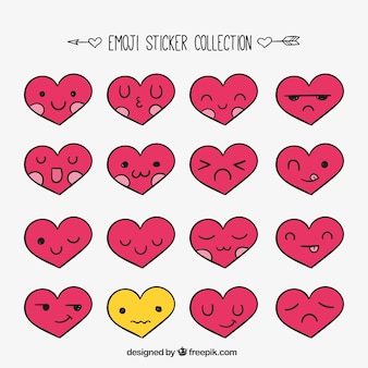 Collection of emoticon stickers with heart-shaped