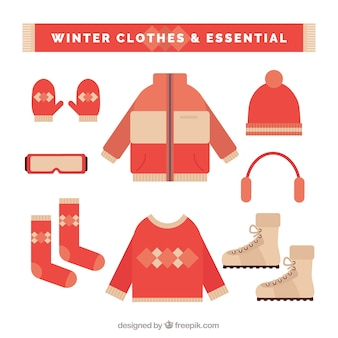 Collection of essential winter clothes and elements in flat design