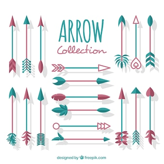 Collection of ethnic arrows in flat design